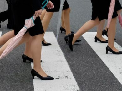 Women in Japan protest against employers' 'flat shoes are bad manners' policy